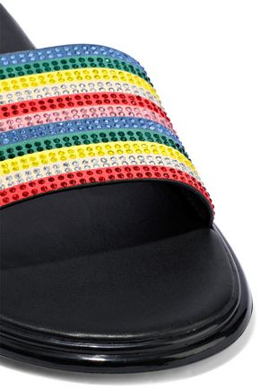 ALICE + OLIVIA Tami crystal striped leather slides