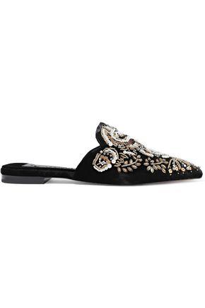 ALICE + OLIVIA Urtin embellished velvet slippers