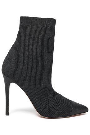 ALICE + OLIVIA Metallic ribbed-knit ankle boots