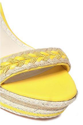 ALICE + OLIVIA Leather-trimmed jute wedge espadrille sandals