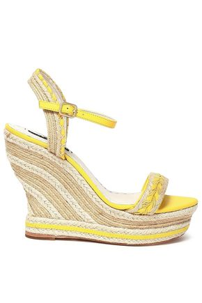 ALICE + OLIVIA Leather-trimmed jute wedge espadrille sandals