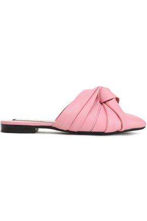 N°21 Ruched leather slippers