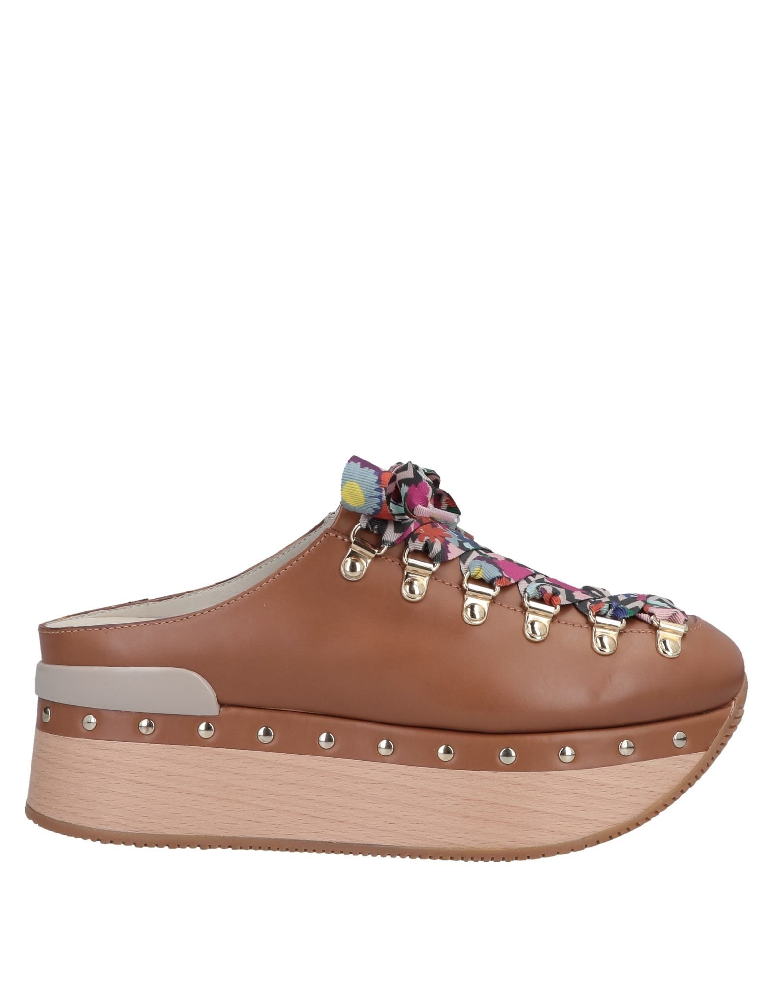 HOGAN Mules. leather, logo, studs, solid color, laces, round toeline, flatform, wooden wedge, leather lining, rubber sole, contains non-textile parts of animal origin. Soft Leather