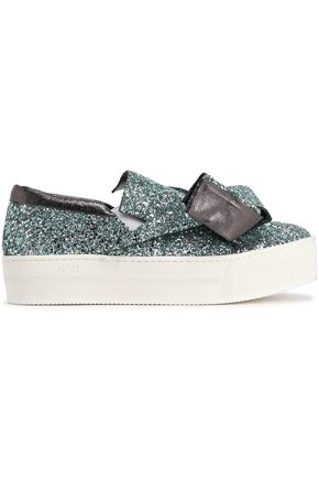 N°21 Knotted glittered leather slip-on sneakers