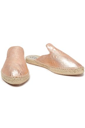 MANEBÍ Metallic textured-leather espadrille slippers