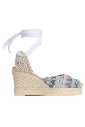 MANEBÍ Metallic tweed wedge espadrilles