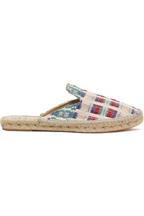 MANEBÍ Checked metallic tweed espadrille slippers