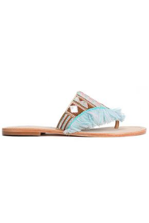 MANEBÍ Embellished frayed leather flip flops