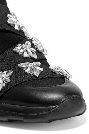 CHRISTOPHER KANE Crystal-embellished neoprene sneakers