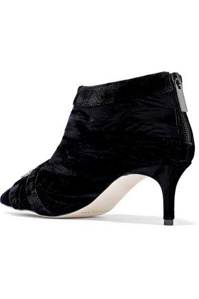 CHRISTOPHER KANE Buckle-embellished velvet ankle boots