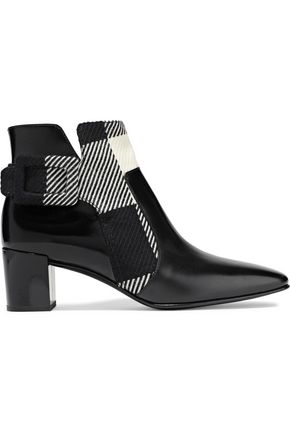 ROGER VIVIER Polly buckle-detailed leather and twill ankle boots