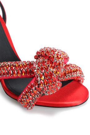 MARCO DE VINCENZO Knotted crystal-embellished satin sandals