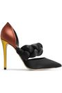 MARCO DE VINCENZO Color-block braided and smooth satin pumps