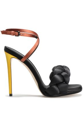 MARCO DE VINCENZO Color-block braided satin sandals