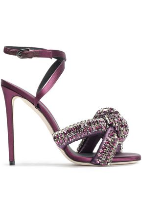 46a123878d5 MARCO DE VINCENZO Knotted crystal-embellished satin sandals