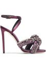 MARCO DE VINCENZO Knotted crystal-embellished satin sandals