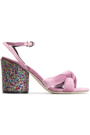 MARCO DE VINCENZO Knotted embellished velvet sandals