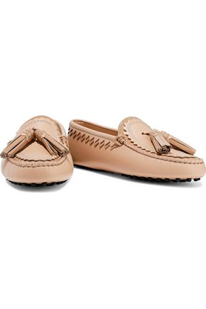 TOD'S Tasseled matte and patent-leather moccasins