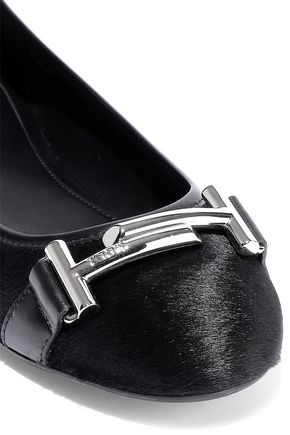TOD'S Embellished leather-trimmed calf hair ballet flats