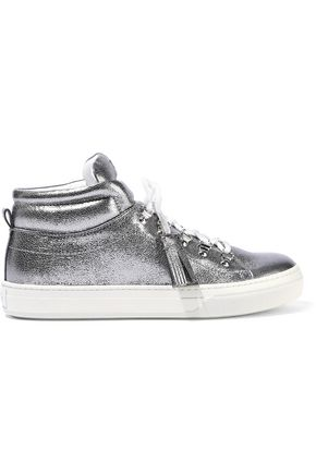 TOD'S Sportivo XK metallic leather high-top sneakers
