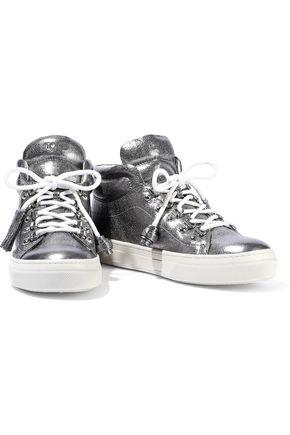 TOD'S Sportivo XK metallic leather high-top sneakers