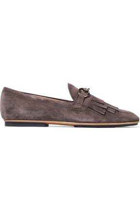 TOD'S Chain-trimmed fringed suede loafers