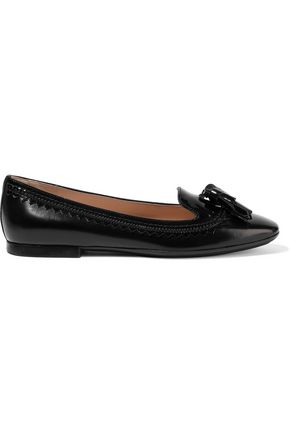 TOD'S Tasseled patent leather-trimmed leather ballet flats