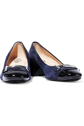 TOD'S Buckle-embellished patent leather-trimmed suede pumps