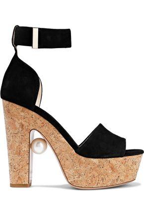 NICHOLAS KIRKWOOD Faux pearl-embellished suede and cork platform sandals