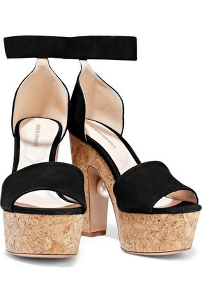 Nicholas Kirkwood Sandals NICHOLAS KIRKWOOD WOMAN FAUX PEARL-EMBELLISHED SUEDE AND CORK PLATFORM SANDALS BLACK