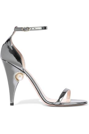 NICHOLAS KIRKWOOD Embellished mirrored leather sandals