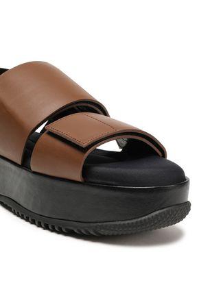 MARNI Glossed-leather platform slingback sandals