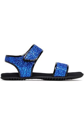 MARNI Patent leather-trimmed glittered woven sandals