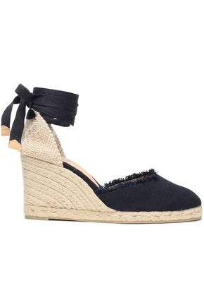 CASTAÑER Canela frayed canvas wedge espadrilles