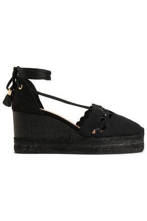 CASTAÑER Tasseled crochet-knit and canvas wedge espadrilles