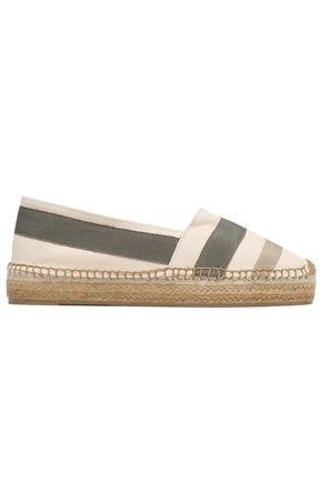 CASTAÑER Kati grosgrain-appliquéd cotton-blend canvas espadrilles