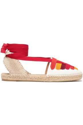 CASTAÑER Jean grosgrain-trimmed cotton-canvas espadrilles
