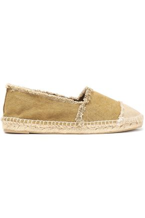 CASTAÑER Kampala frayed paneled two-tone canvas espadrilles