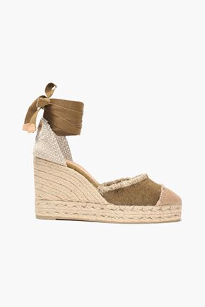 CASTAÑER Catalina frayed paneled two-tone canvas espadrilles