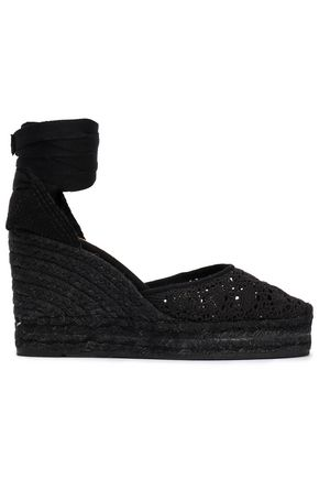 CASTAÑER Crocheted cotton wedge espadrilles
