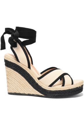 CASTAÑER Hiedra grosgrain-trimmed cotton-canvas wedge sandals