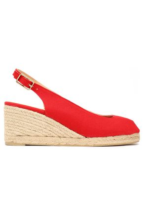 CASTAÑER Cotton-canvas wedge slingback espadrilles
