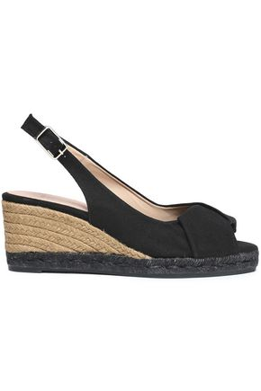 CASTAÑER Twist-front canvas slingback wedge espadrilles