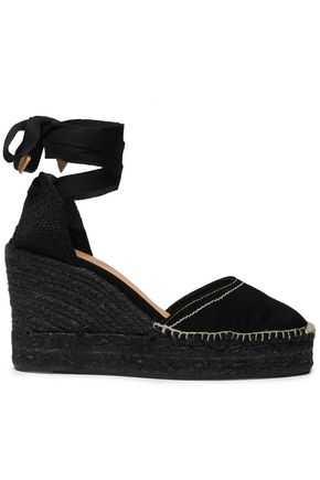 CASTAÑER Carina canvas and suede wedge espadrilles