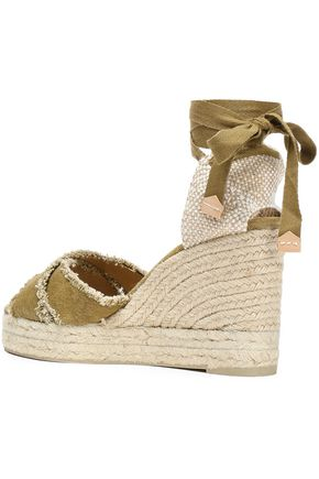 CASTAÑER Bluma frayed cotton-canvas wedge espadrille sandals