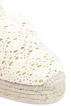 CASTAÑER Carina crocheted wedge espadrilles