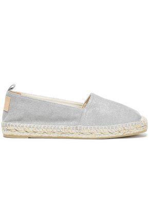 CASTAÑER Kent leather-appliquéd metallic suede espadrilles
