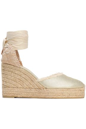 CASTAÑER Canela frayed metallic cotton-canvas wedge espadrilles