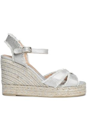 CASTAÑER Bromelia metallic cotton-canvas wedge espadrille sandals