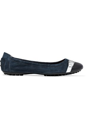 TOD'S Metallic and patent leather-trimmed suede ballet flats